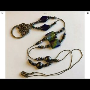 Lanyard ID holder necklace antiqued brass …